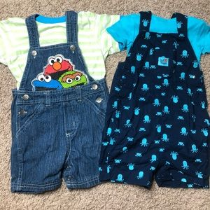 Set of two overalls 18 months w/ short sleeves